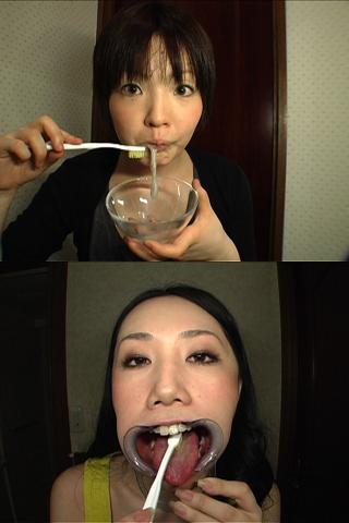 美女の歯磨き【汚ベロ磨き・ザーメン磨き・口開唾溜め磨き】